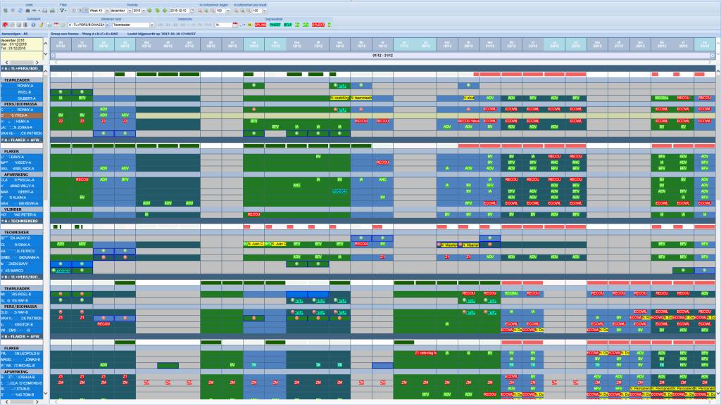 Keytime - printscreen planning